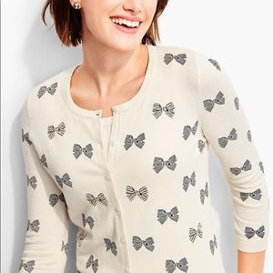 Talbots Button Down Ivory Cardigan w Bow Detail
